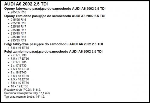 Jakie Dopuszczone Rozmiary Opon Do A6 C5 C5 1997 2004